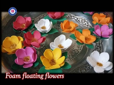 DIY How to make  Floating Flowers For Diwali Decoration. floating candle with flowers centerpiece