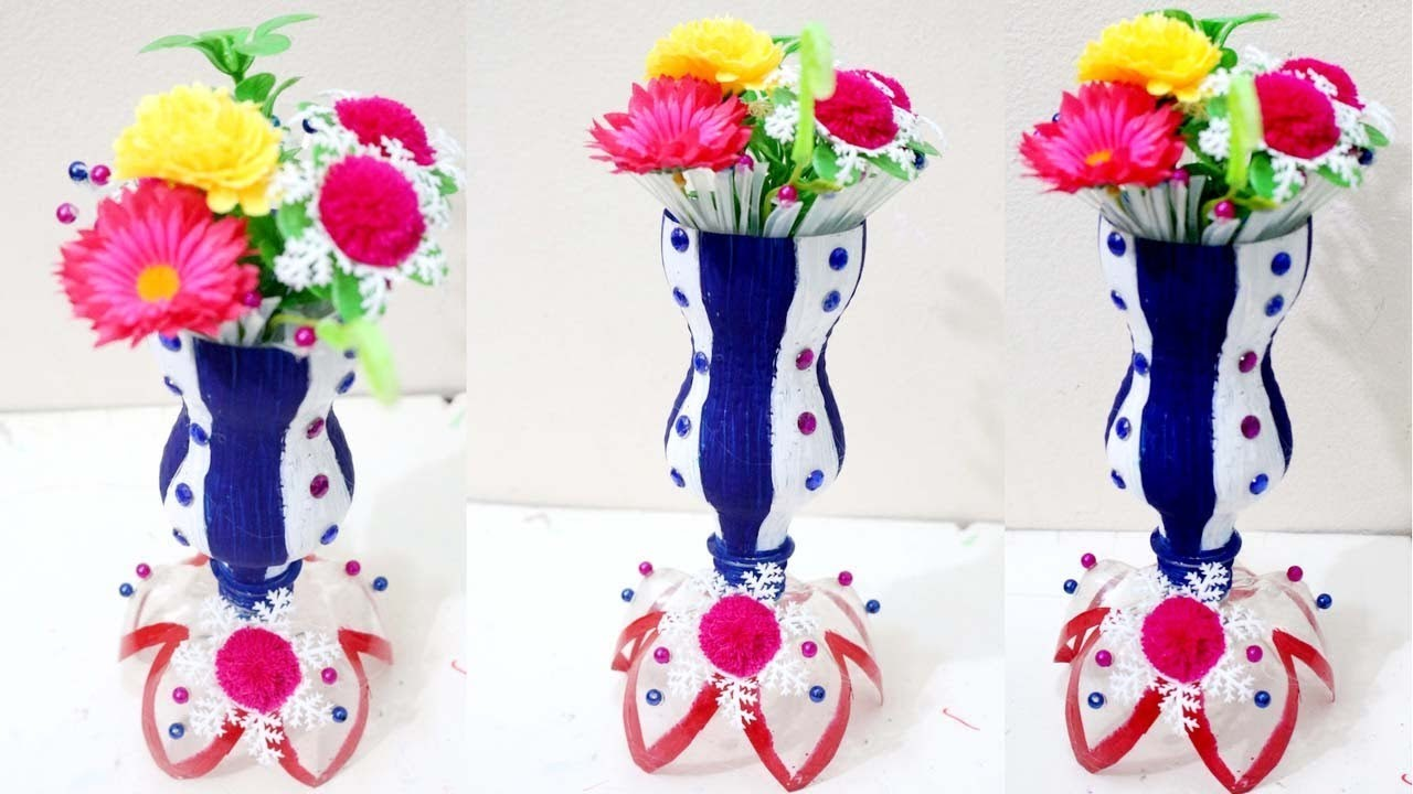 Diy plastic bottle flower vase how to make flower vase for Plastic bottle vase craft