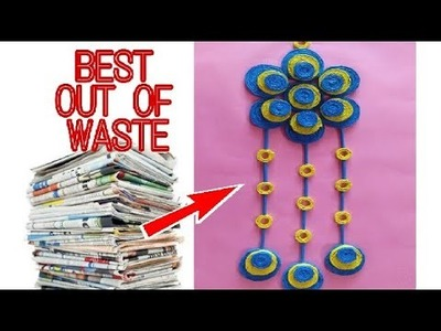 DIY wall decoration idea || how to make easy newspaper wall hanging decoration