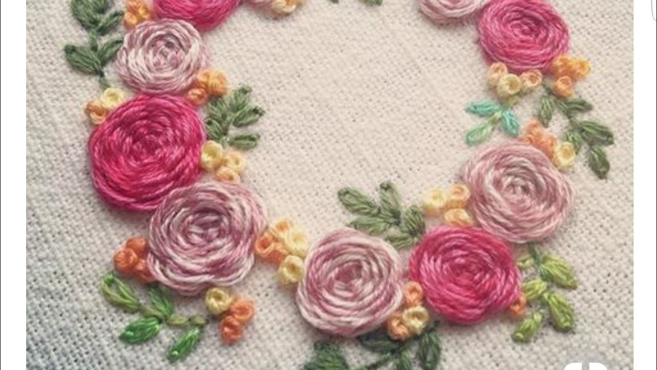 Hand embroidery: how to make rose flower and leaf ????????????