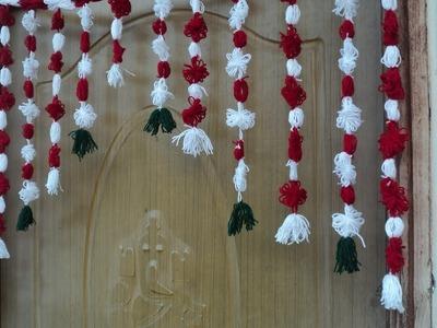 Handmade toran DIY, Door Hanging Toran From Woolen Very Easy, How to Make Wool Toran