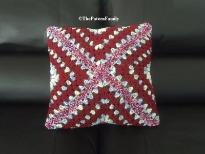 How to Crochet Granny Square Envelope Pillow Pattern #138│by ThePatternfamily