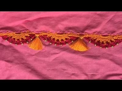 How to do saree kuchu.tassels.crochet with beads design
