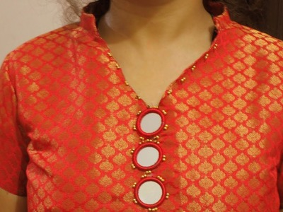 How to fix mirror in dress v neck round collar anarkali kurti with pom pom lace P-2(Hindi version)