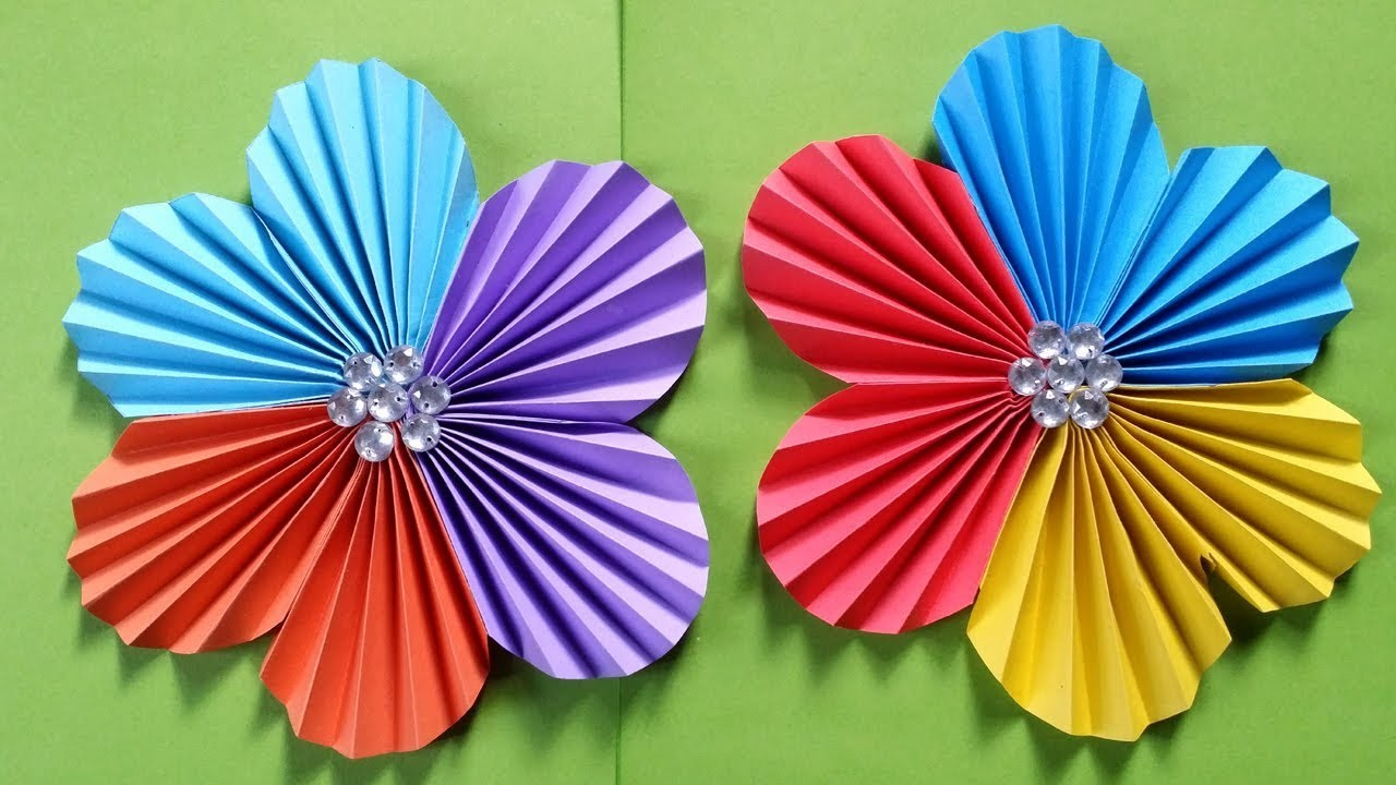 How To Make A Flower With Colour Paper Easy Simple Easy Paper