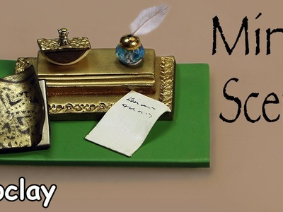 How to make a Miniature Scene with an inkwell - Dollhouse accessories.