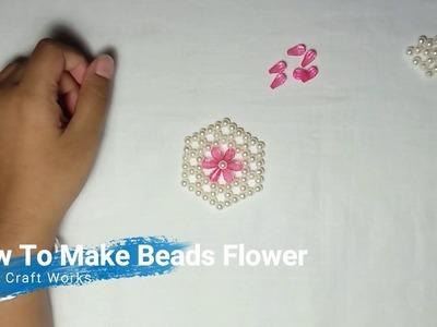 How To Make Beads Flower.  Purse Bag Coming Soon! পুতির ব্যাগ এর ফুল তৈরি (গোলাপী)।