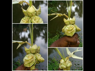 How to make beautiful palm flowers bouquet (coconut tree leaf)