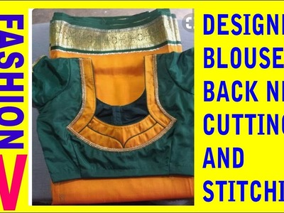 How to make Designer Blouse at Home-80||Designer Bridal Back Neck Blouse Pattern - 2017|stitching