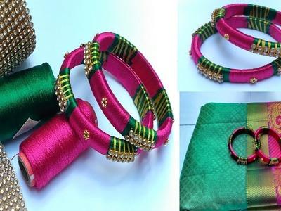 How To Make Designer Fancy Side Bangles. Silk Thread Bangles. Thread Bangles Making at Home