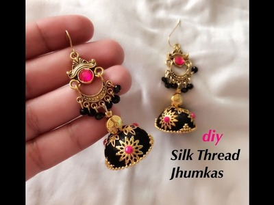 How to make designer silk thread jhumkas||Making beautiful silk thread earrings