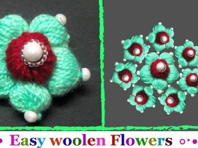 How to make Easy Woolen Flowers step by step | Handmade woolen thread flower making idea.