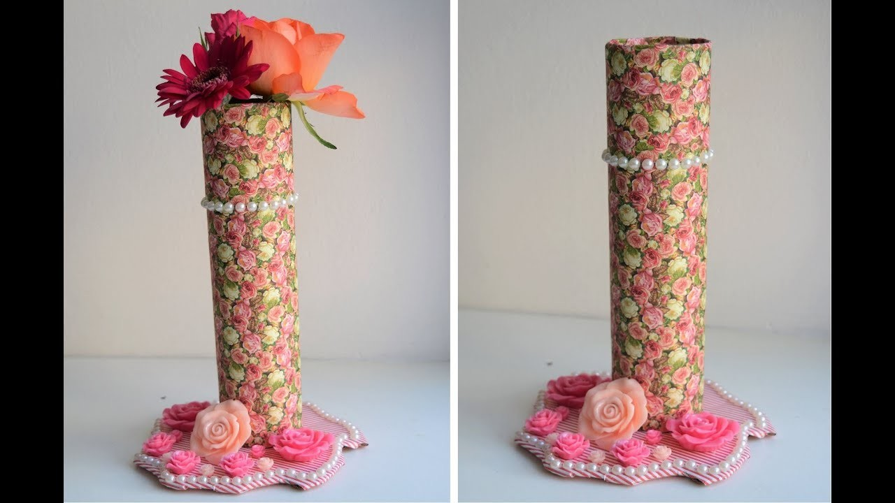 How To Make Flower Vase With Paper Roll And Cardboard