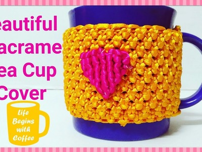 How To Make.Macrame Tea Cup Cover.With a Heart Shape. In This Winters. From a Waste Macrame