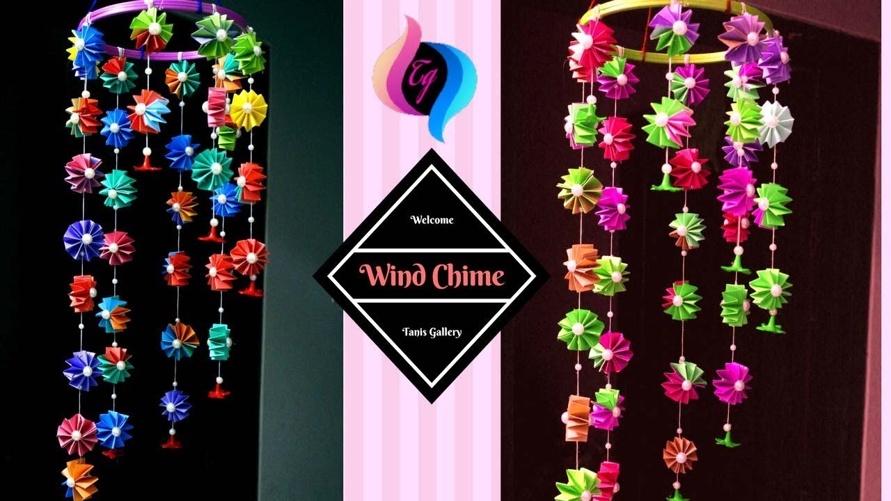 How to make paper wind chimes at home  - Handmade paper wind chime - Paper wind chime tutorial