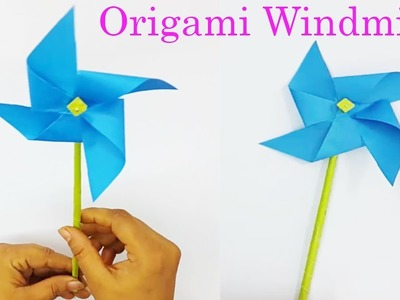 How to make paper windmill- paper pinwheel- easiest origami for kids