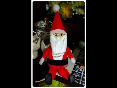How to make  santa claus nylon. stocking flower by ployandpoom (ผ้าใยบัว