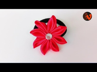 How to Make Satin Ribbon Flower. Satin Ribbon Flower Hair Band. Tutorial