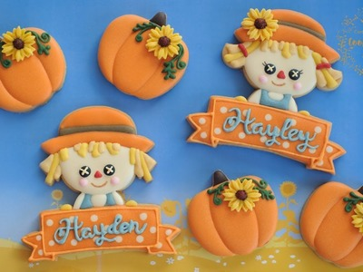 How to make SCARECROW COOKIES with name banner - BOY & GIRL SCARECROWS