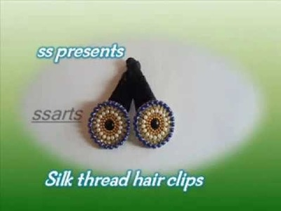 How to make silk thread Hair clips making at home.Kids hair accessory making at home
