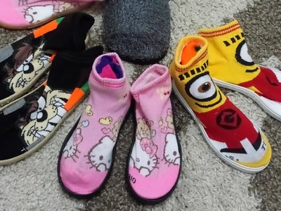 How to make Slippers all sizes  Socks shoes, very easy and cheap mami