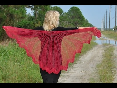 How to Read Knitting Chart for Razor Shell Shawl Pattern Bottom Up Style