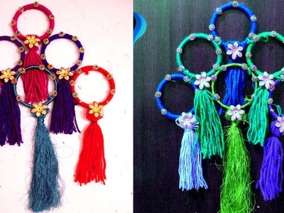 How to use waste bangles - Wall hanging with bangles and yarn -How to use old bangles for decoration