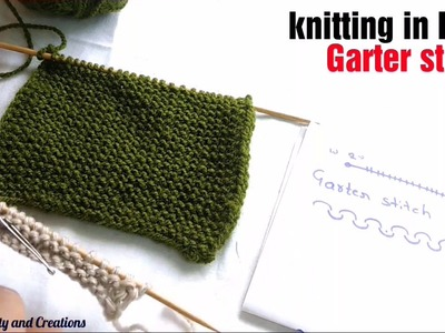 Knitting in Hindi for beginners - garter stitch,bunayi Hindi me,k knitting designs,knitting patterns