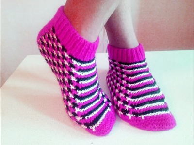Knitting slippers for beginners step by step. Part1
