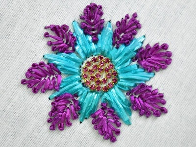 Learn how to make Beautiful Flower using Raffia Ribbon | Hand Embroidery Tutorial for beginners