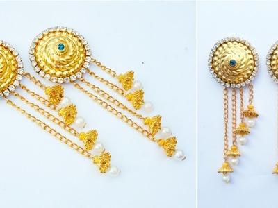 Simple And Easy Earrings Making At Home |How To Make Designer Pearls Hangings|DIY|Bahubali Earrings
