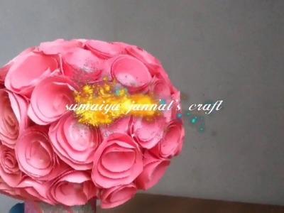 কাগজের তৈরি গোলাপ ফুলের তোড়া গিফটের জন্য মানানসই।। How to make Bunch of Roses।। (Easy paper craft)।।