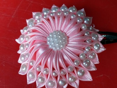 WOW! Amazing DIY Ribbon flower with beads - Kanzashi flower hair clip - How to make ribbon flower