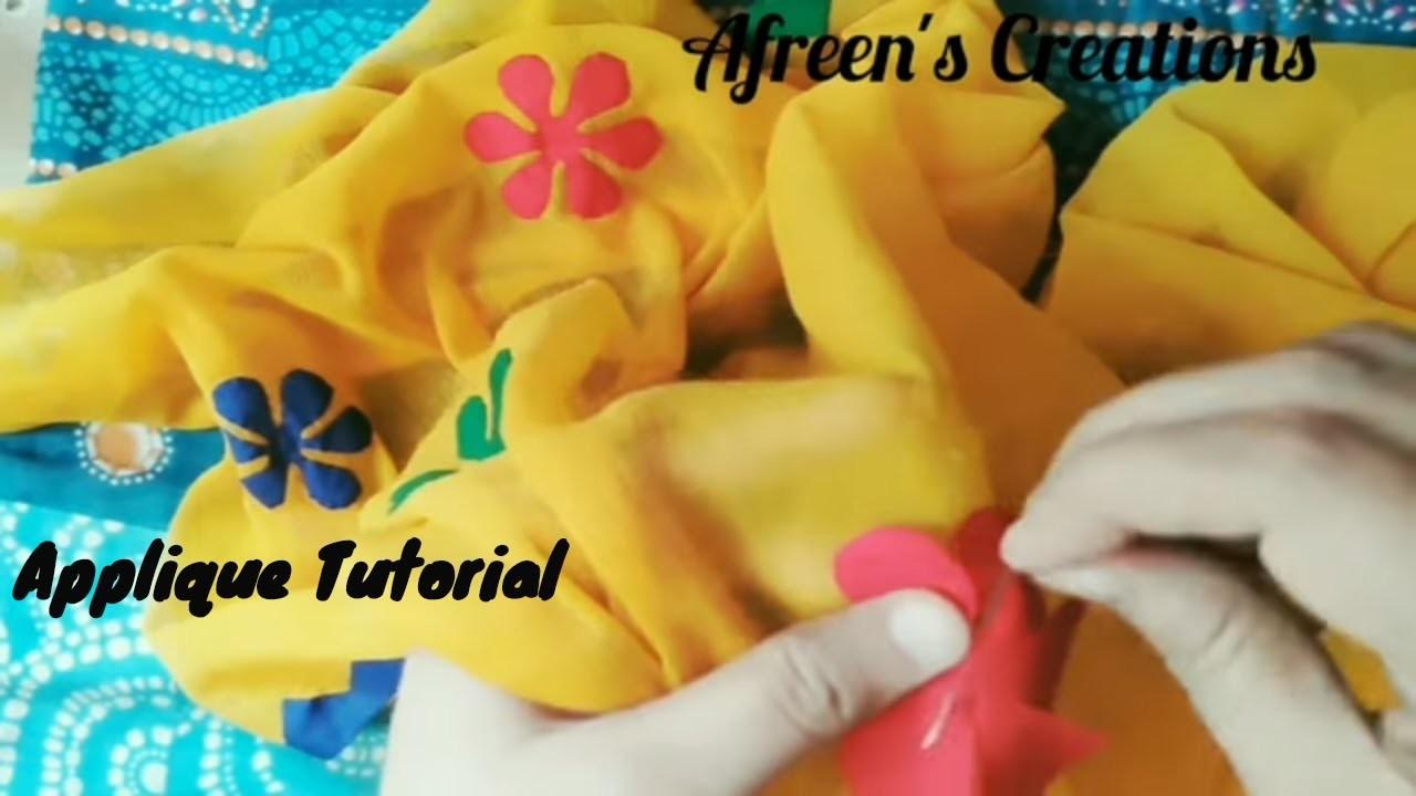 Applique tutorial; dupatta designing pattern 5 hand applique