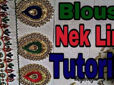 Blouse Nek Line 2 | Blouse design | Hand embroidery | Aari embroidery