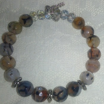 Botswana Agate and Crystal bracelet