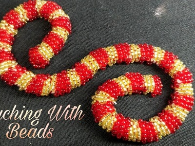 Couching Stitch With Beads (Hand Embroidery Work)
