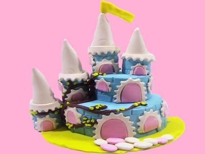 DIY Castle Cake with PlayDoh Sparkle - How To Make Castle Cake With PlayDoh Sparkle Learning Video