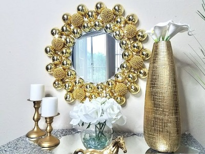 Diy Embellished Golden Wall Mirror| Simple, Unique and Inexpensive Wall Decorating Idea!