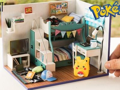 DIY Miniature Pokemon Bunk Bedroom for Boys