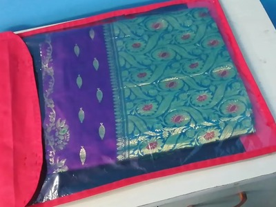DIY Saree Organizer.Cover from Shopping Bags - Saree Organization Idea