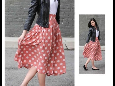 Elastic gathered Midi Skirt making in just 2 Steps - Very Simple & Easy - Complete Tutorial