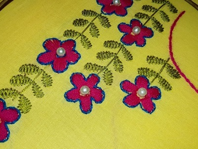 Hand Embroidery: Boatneck Embroidery For Blouses.Churidar.kameez design.