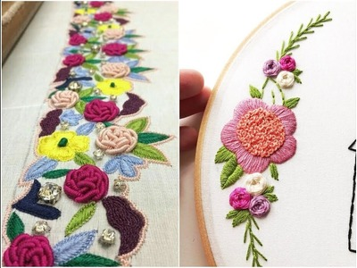 Hand embroidery flower designs by hand work 2018 flower designs