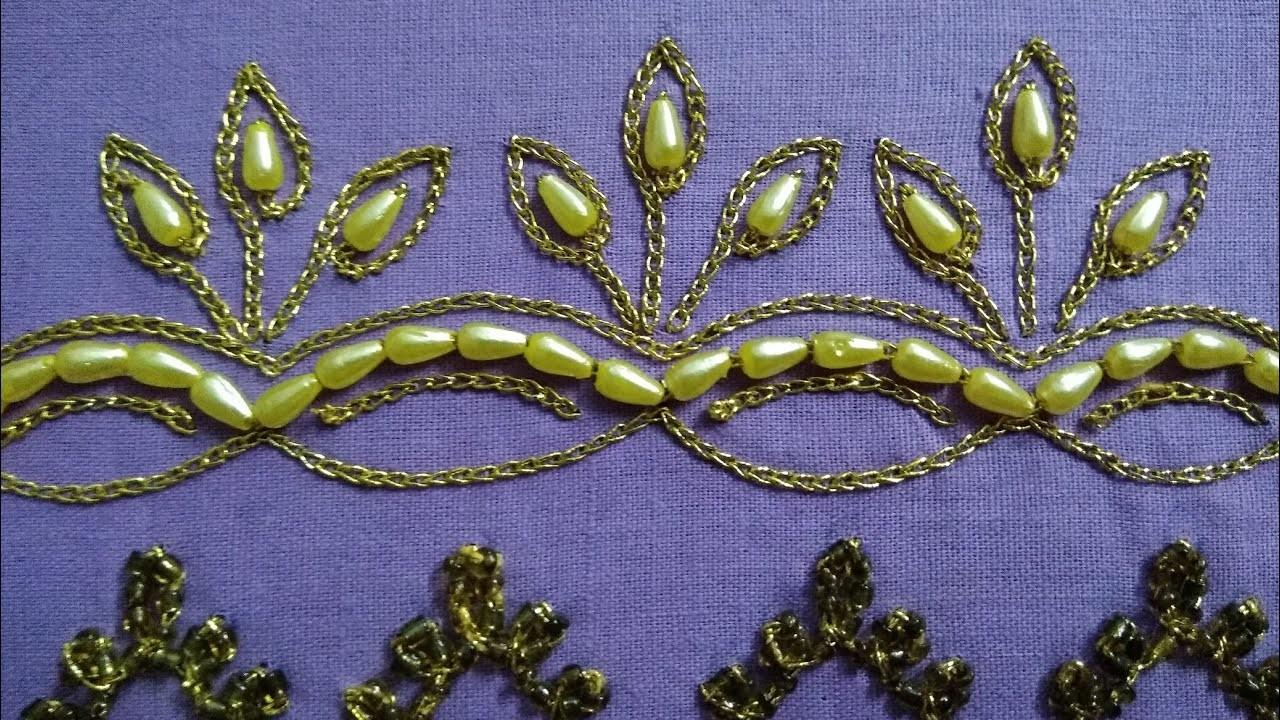 Hand Embroidery Saree Dupatta Kurti Border Design 02