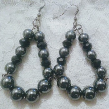 Hematite & black crystal earrings.