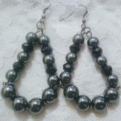 Hematite & black crystal earrings.
