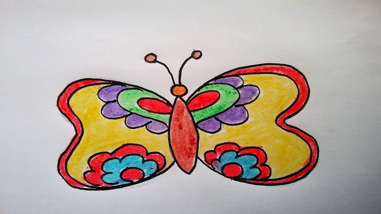 How To Draw Butterfly Easy For Kids Drawing Colourful Butterfly For