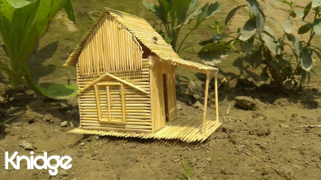 How to make a Toothpick House tutorial - simple life hacks with toothpicks -  knidge