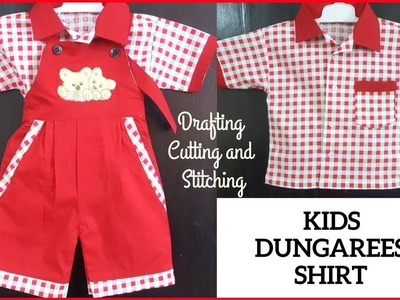 Kids Shirt Dungarees - with Drafting, Cutting and Stitching in Hindi.Urdu | DIY Shirt